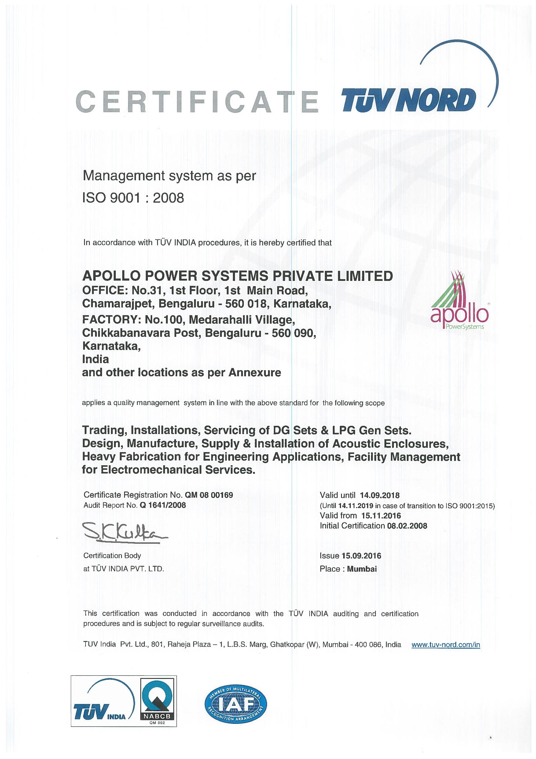 Iso 90012008 certification apollo power systems pvt ltd iso 9001 certificate apollo power systems pvt ltd 1betcityfo Image collections