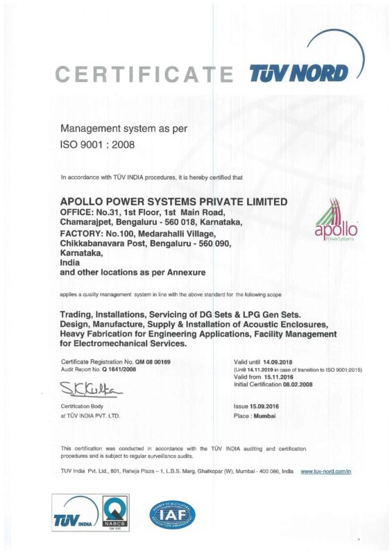 ISO-9001 Certificate | Apollo Power Systems