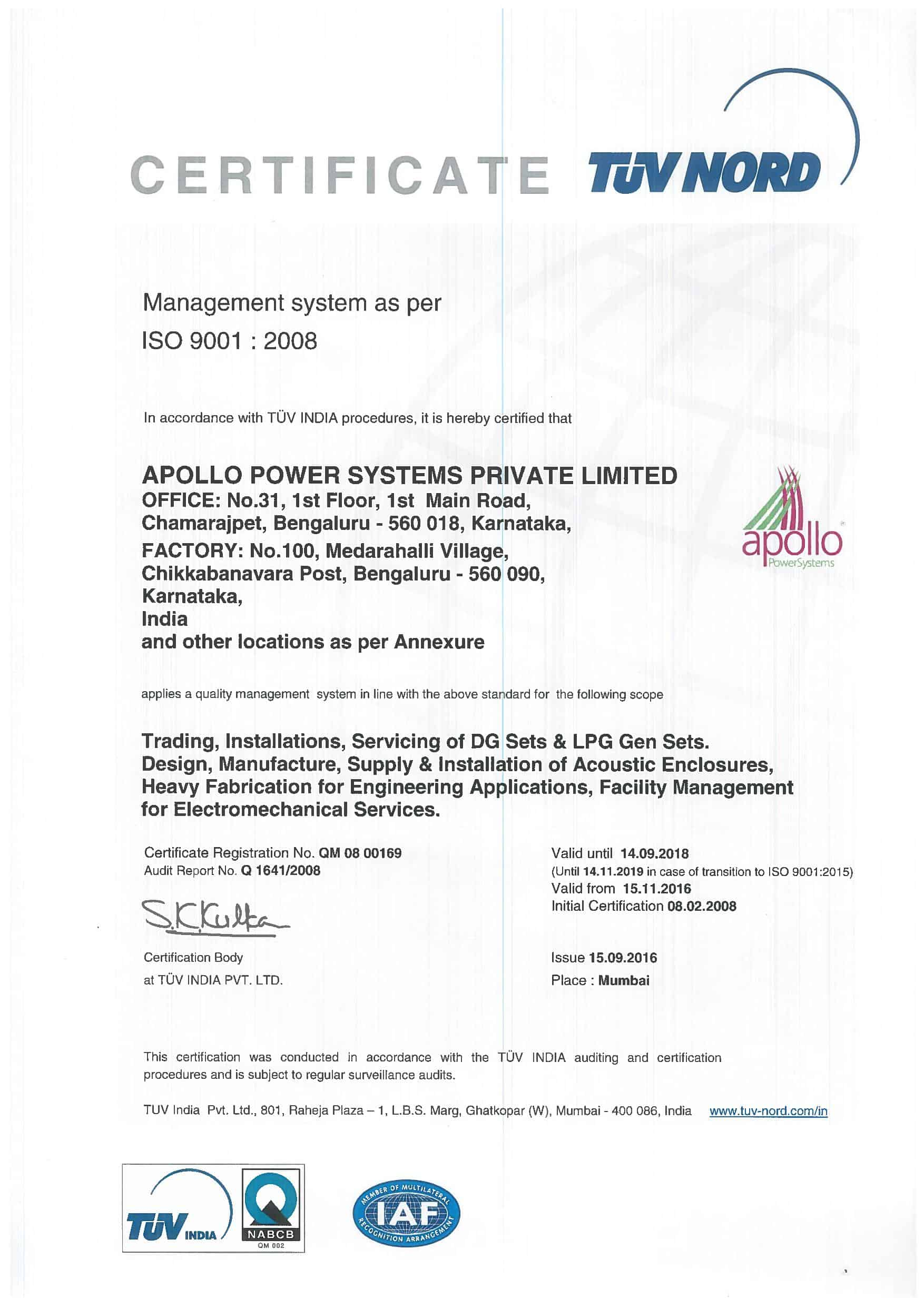 Iso 9001 2008 Certification Apollo Power Systems Pvt Ltd